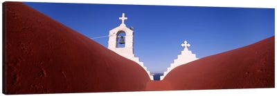 Low angle view of a bell tower of a church, Mykonos, Cyclades Islands, Greece Canvas Art Print
