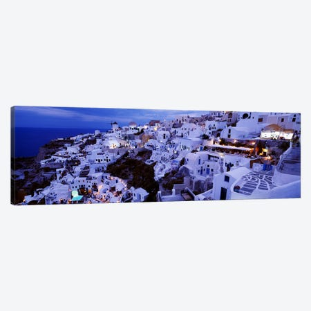 Coastal Village Landscape At Dusk II, Santorini, Cyclades, Greece Canvas Print #PIM4456} by Panoramic Images Art Print