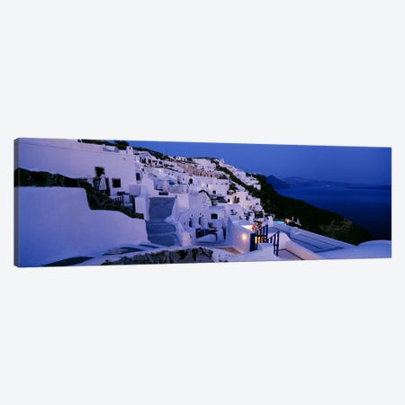 Coastal Village Landscape At Dusk III, Santorini, Cyclades, Greece Canvas Print #PIM4462} by Panoramic Images Canvas Art Print