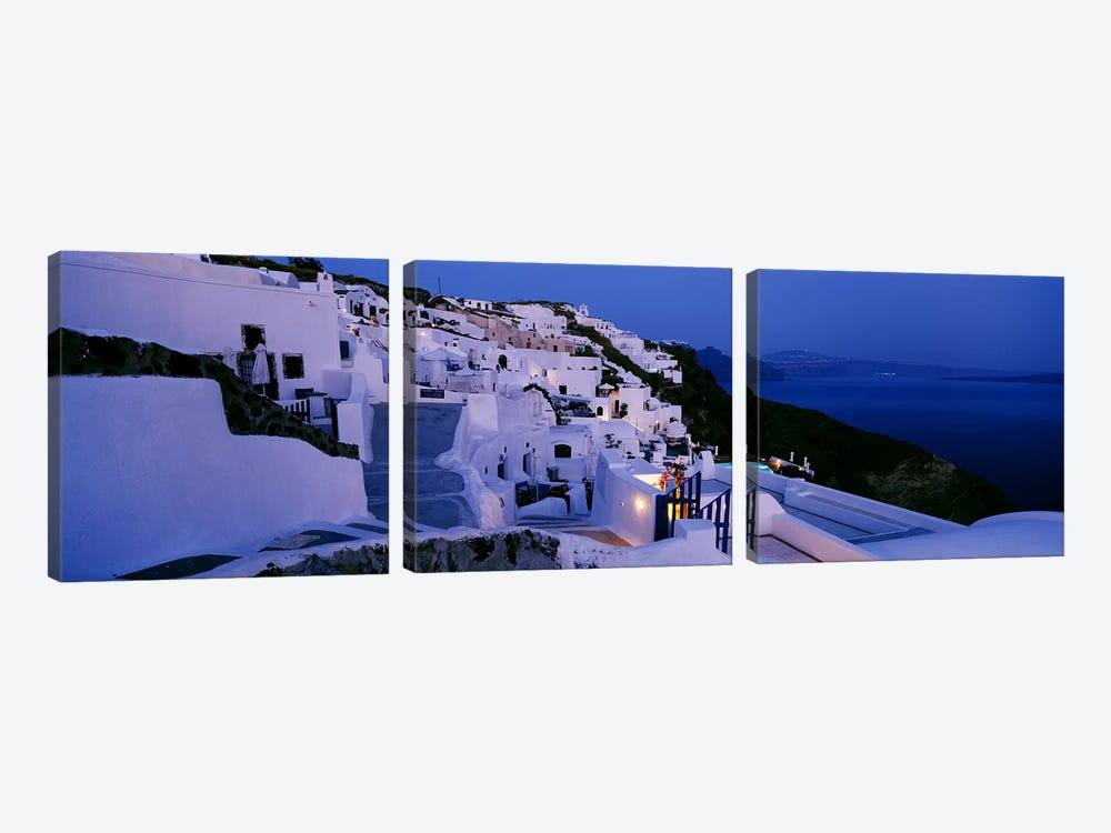 Coastal Village Landscape At Dusk III, Santorini, Cyclades, Greece by Panoramic Images 3-piece Canvas Art Print