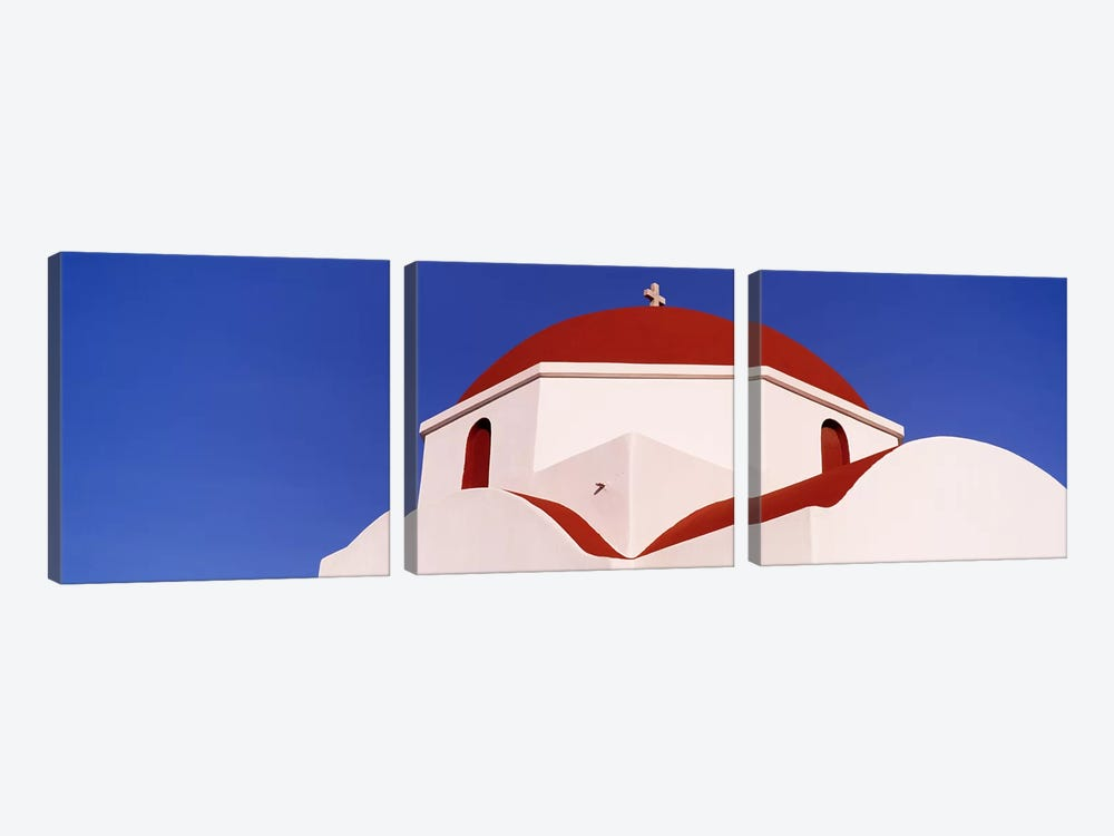 Low angle view of a church, Mykonos, Cyclades Islands, Greece by Panoramic Images 3-piece Canvas Art