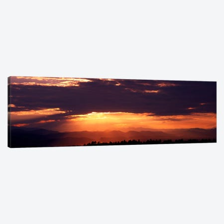 Sunset over Rocky Mts from Daniels Park CO USA Canvas Print #PIM446} by Panoramic Images Canvas Art Print