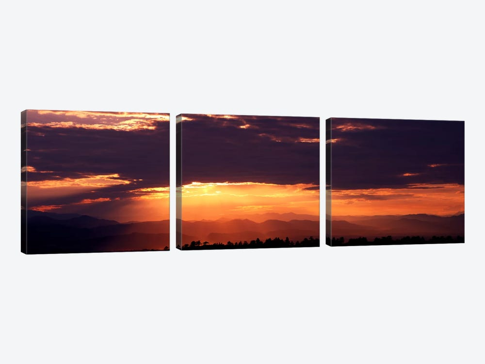 Sunset over Rocky Mts from Daniels Park CO USA by Panoramic Images 3-piece Canvas Print