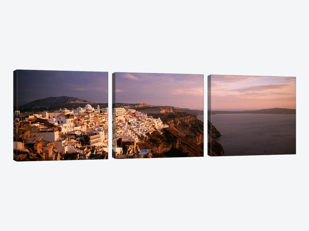 High-Angle View Of Fira, Santorini, Cyclades, Greece by Panoramic Images 3-piece Canvas Print