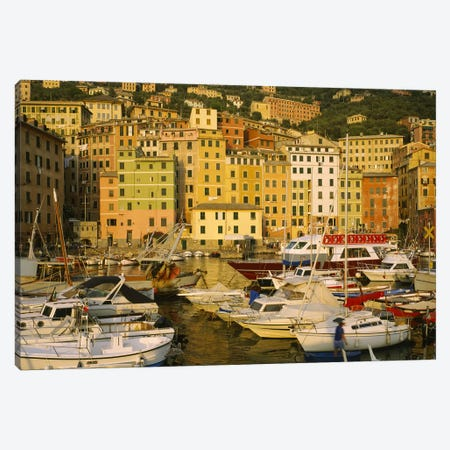 Boats In Harbor, Camogli, Genoa, Liguria, Italy Canvas Print #PIM4478} by Panoramic Images Canvas Artwork