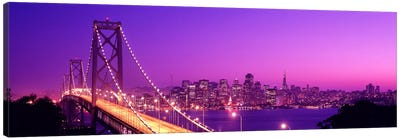 USACalifornia, San Francisco, Bay Bridge, night Canvas Art Print