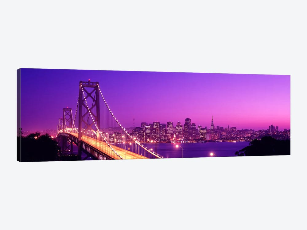 USACalifornia, San Francisco, Bay Bridge, night by Panoramic Images 1-piece Canvas Art
