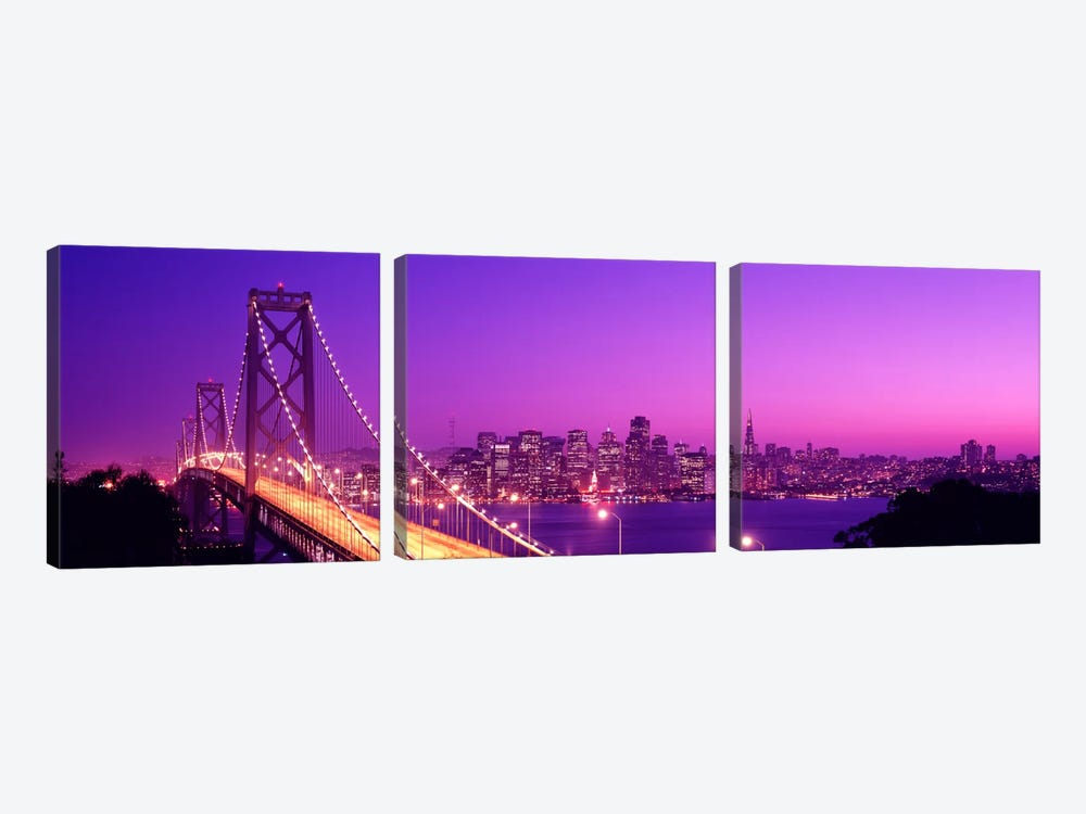 USACalifornia, San Francisco, Bay Bridge, night by Panoramic Images 3-piece Canvas Wall Art