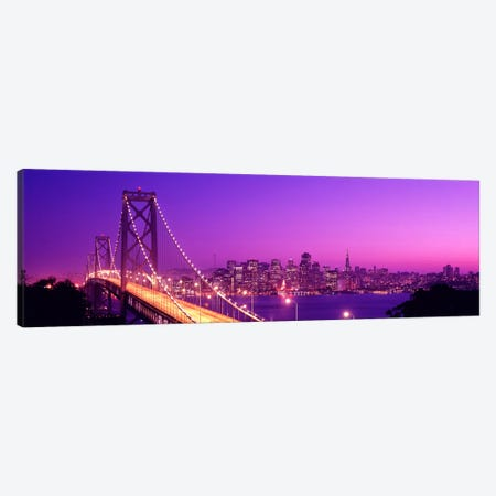 USACalifornia, San Francisco, Bay Bridge, night Canvas Print #PIM447} by Panoramic Images Canvas Print