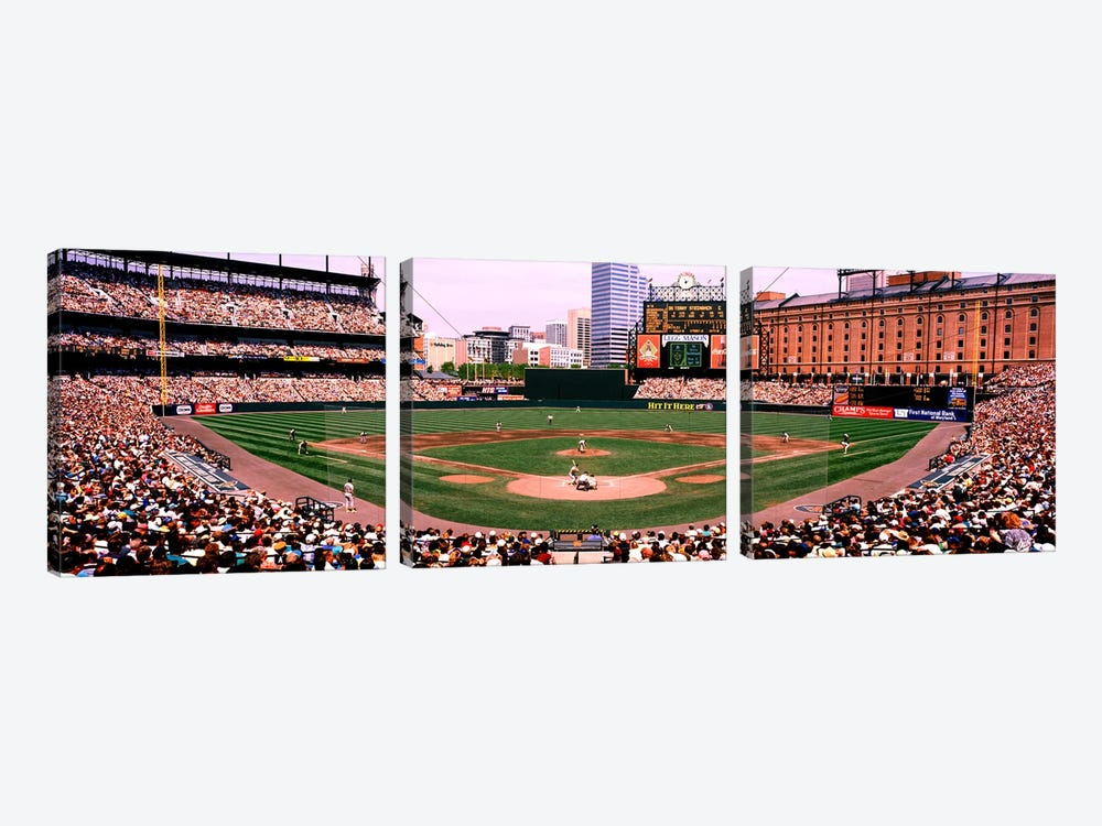 High angle view of a baseball field, Baltimore, Maryland, USA by Panoramic Images 3-piece Canvas Art Print