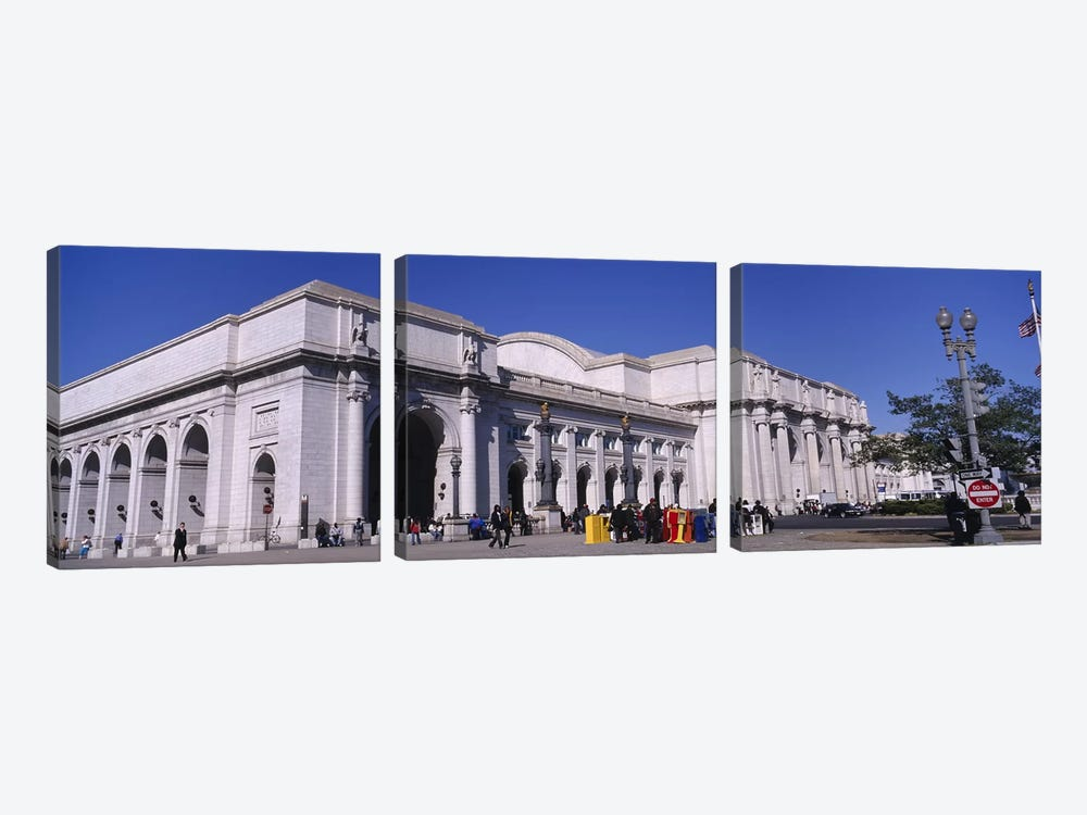 USA, Washington DC, Tourists walking in front of Union Station by Panoramic Images 3-piece Canvas Print