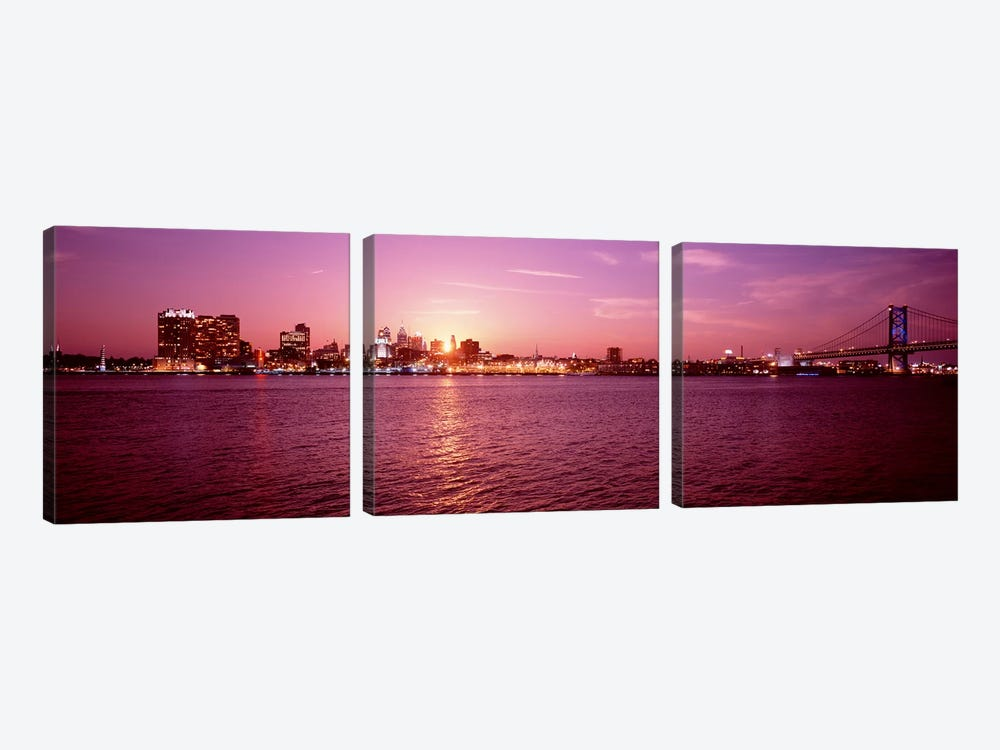 USA, Pennsylvania, Philadelphia at Dusk by Panoramic Images 3-piece Art Print