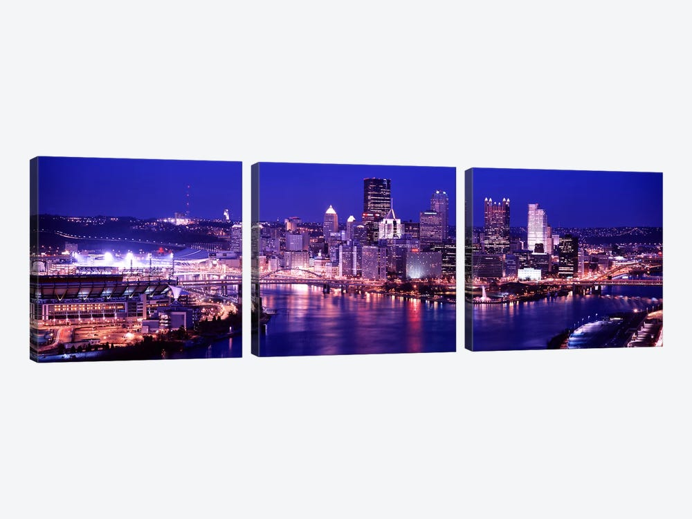 USA, Pennsylvania, Pittsburgh at Dusk by Panoramic Images 3-piece Canvas Wall Art