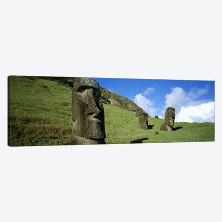 Stone Heads, Easter Islands, Chile Canvas Print #PIM4506} by Panoramic Images Art Print