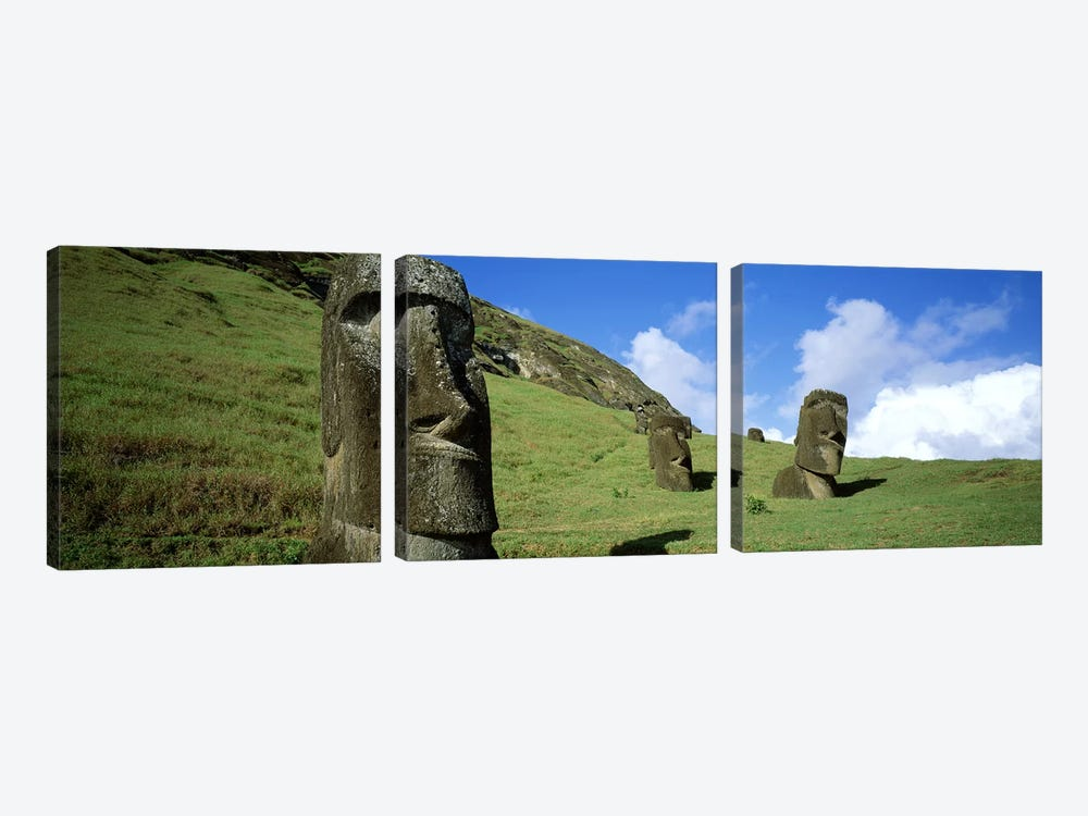 Stone Heads, Easter Islands, Chile by Panoramic Images 3-piece Canvas Art