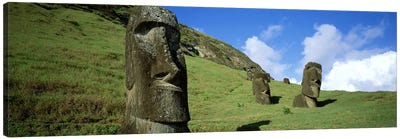 Stone Heads, Easter Islands, Chile Canvas Art Print