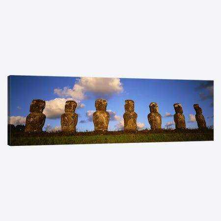 Stone Heads, Easter Islands, Chile #2 Canvas Print #PIM4526} by Panoramic Images Art Print