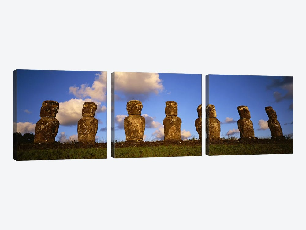 Stone Heads, Easter Islands, Chile #2 by Panoramic Images 3-piece Canvas Wall Art