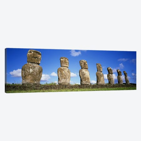 Stone Heads, Easter Islands, Chile #3 Canvas Print #PIM4529} by Panoramic Images Canvas Wall Art