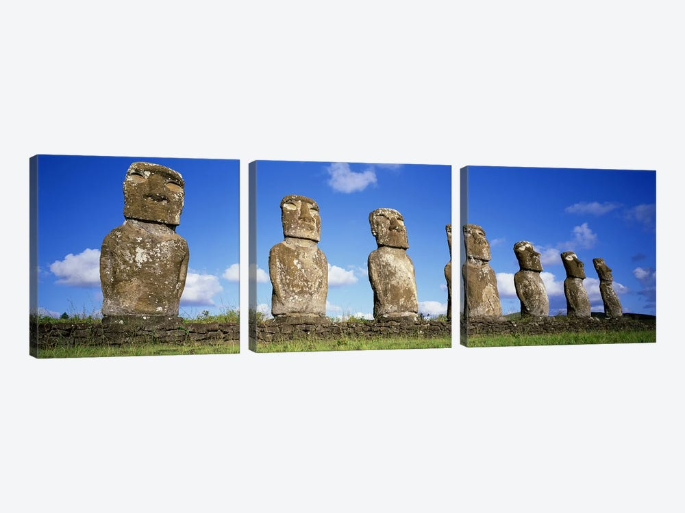 Stone Heads, Easter Islands, Chile #3 by Panoramic Images 3-piece Canvas Print
