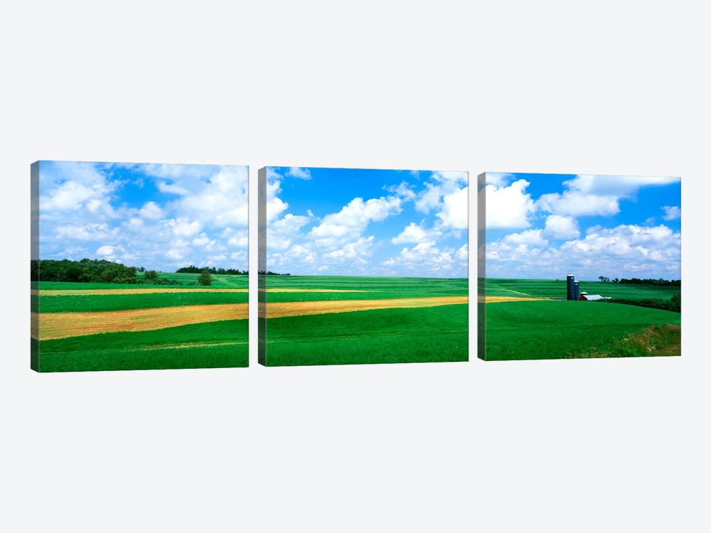 Cloudy Country Ladnscape, Wisconsin, USA by Panoramic Images 3-piece Canvas Artwork