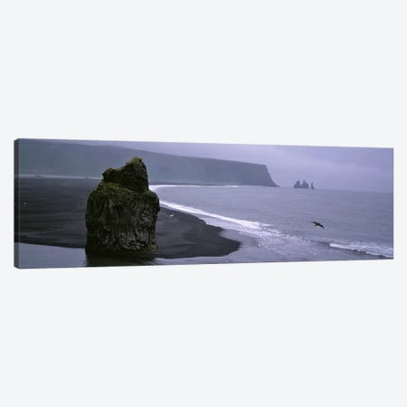 Distant View Of Reynisdrangar From Kirkjufjara Beach, Iceland 3-Piece Canvas #PIM4534} by Panoramic Images Canvas Artwork