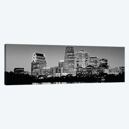 USA, Texas, Austin, Panoramic view of a city skyline (Black And White) Canvas Print #PIM4550} by Panoramic Images Canvas Print