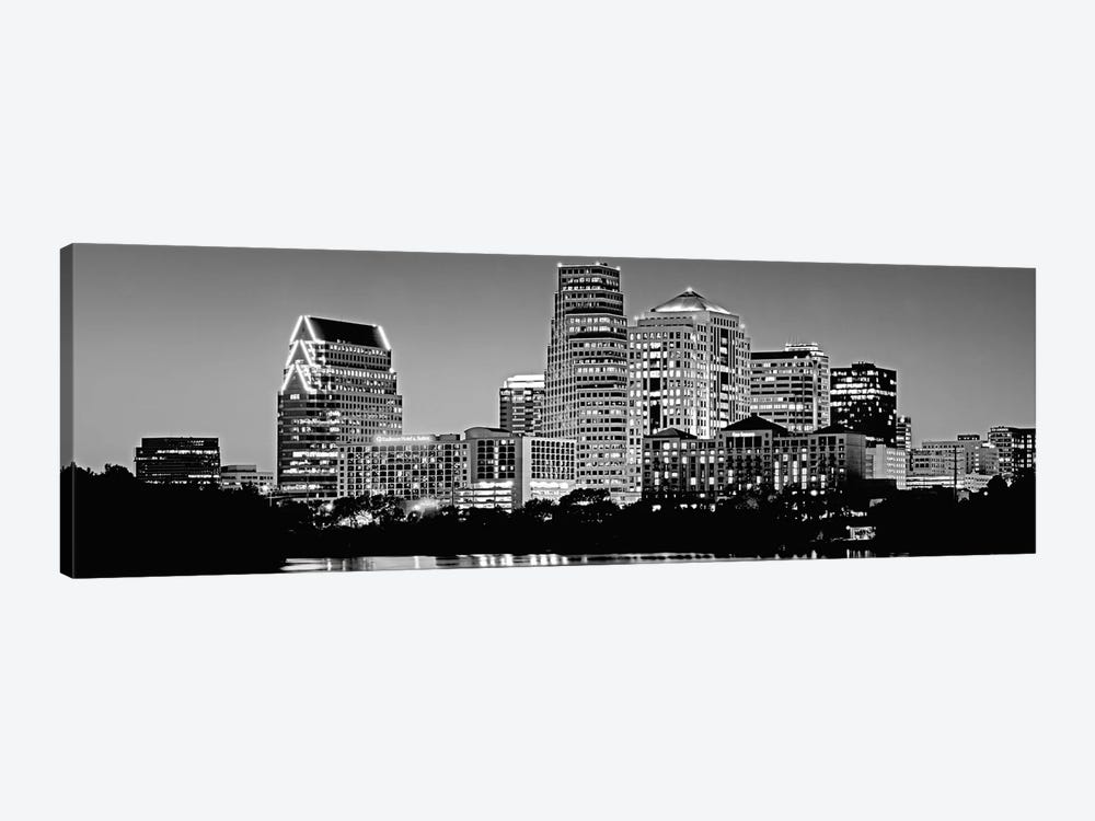 USA, Texas, Austin, Panoramic view of a city skyline (Black And White) by Panoramic Images 1-piece Canvas Art Print