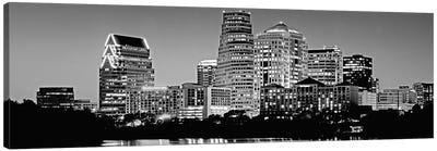 USA, Texas, Austin, Panoramic view of a city skyline (Black And White) Canvas Art Print