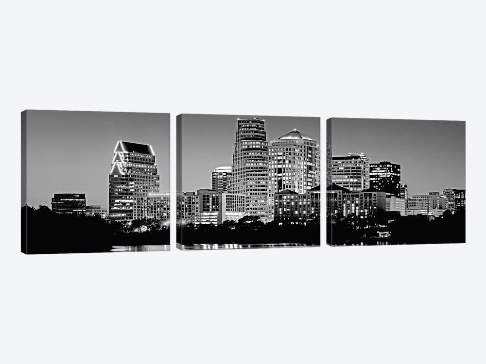 USA, Texas, Austin, Panoramic view of a city skyline (Black And White) by Panoramic Images 3-piece Canvas Art Print