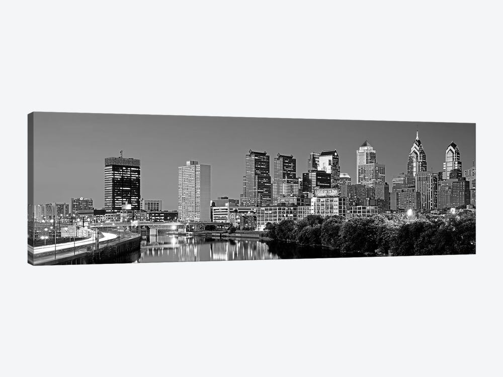US, Pennsylvania, Philadelphia skyline, night by Panoramic Images 1-piece Canvas Art Print