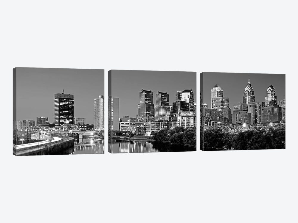 US, Pennsylvania, Philadelphia skyline, night by Panoramic Images 3-piece Canvas Print