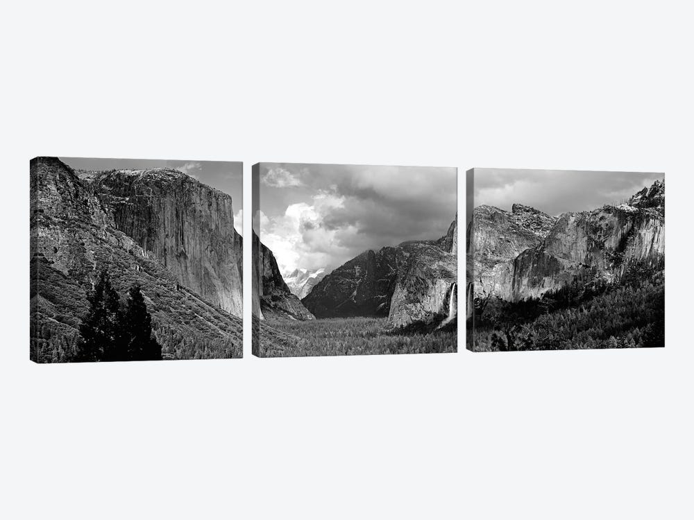 Yosemite Valley In B&W, Yosemite National Park, California, USA by Panoramic Images 3-piece Canvas Wall Art