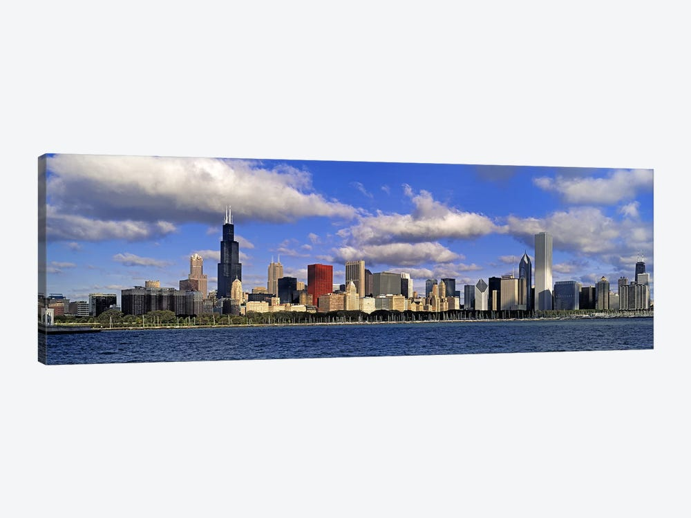 USA, Illinois, Chicago, Panoramic view of an urban skyline by the shore by Panoramic Images 1-piece Canvas Print