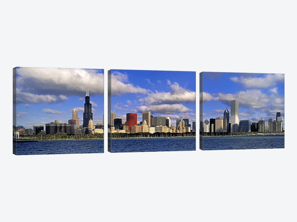 USA, Illinois, Chicago, Panoramic view of an urban skyline by the shore by Panoramic Images 3-piece Canvas Art Print