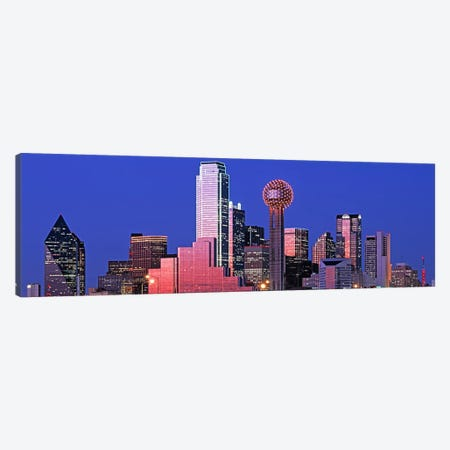 Downtown Skyline At Night, Dallas, Texas, USA Canvas Print #PIM4555} by Panoramic Images Canvas Artwork
