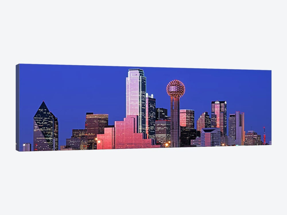 USATexas, Dallas, Panoramic view of an urban skyline at night by Panoramic Images 1-piece Canvas Art