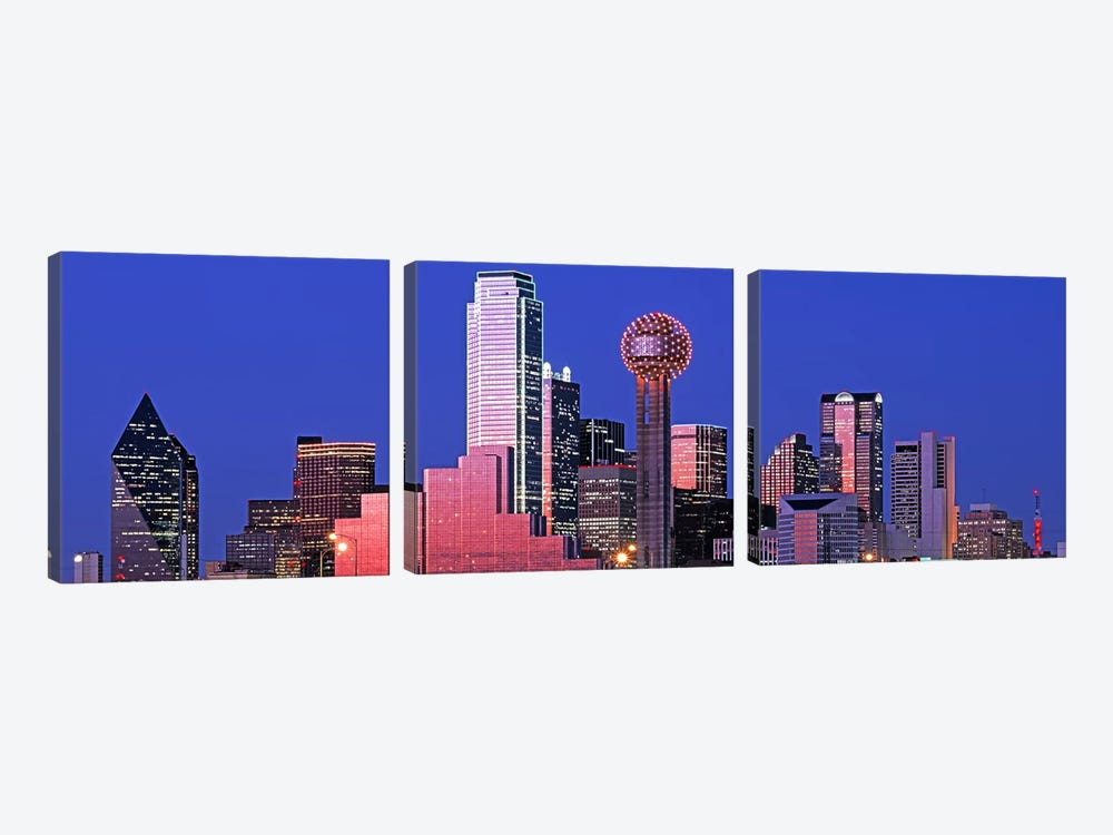 USATexas, Dallas, Panoramic view of an urban skyline at night by Panoramic Images 3-piece Canvas Artwork