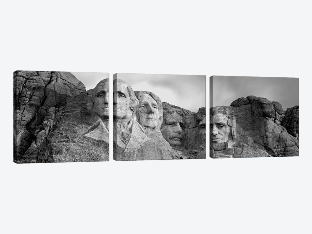 Mount Rushmore National Memorial II In B&W, Pennington County, South Dakota, USA by Panoramic Images 3-piece Canvas Wall Art