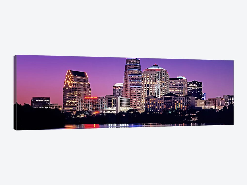 USA, Texas, Austin, View of an urban skyline at night by Panoramic Images 1-piece Canvas Artwork