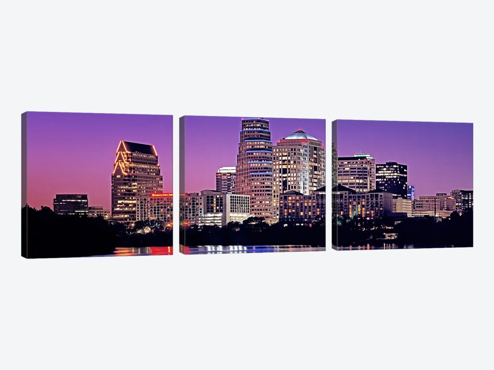 USA, Texas, Austin, View of an urban skyline at night by Panoramic Images 3-piece Canvas Art