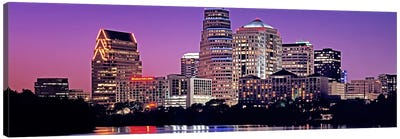 USA, Texas, Austin, View of an urban skyline at night Canvas Art Print