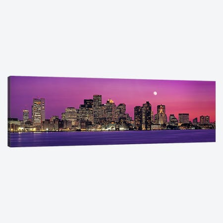 USA, Massachusetts, Boston, View of an urban skyline by the shore at night Canvas Print #PIM4563} by Panoramic Images Canvas Artwork