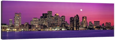 USA, Massachusetts, Boston, View of an urban skyline by the shore at night Canvas Art Print