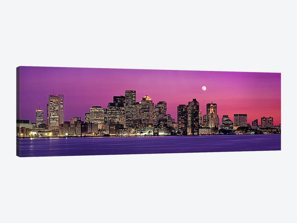 USA, Massachusetts, Boston, View of an urban skyline by the shore at night by Panoramic Images 1-piece Canvas Art Print