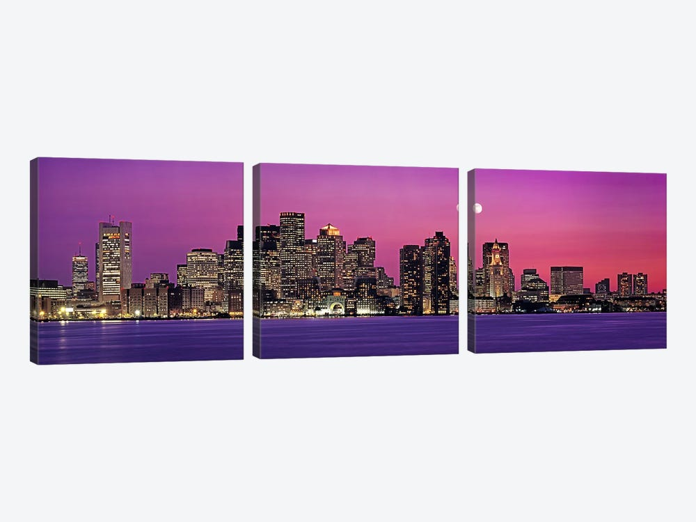 USA, Massachusetts, Boston, View of an urban skyline by the shore at night by Panoramic Images 3-piece Art Print