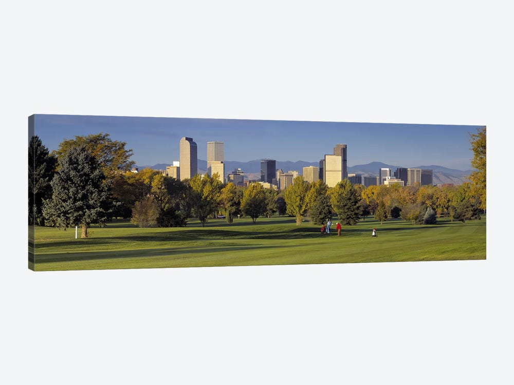 USAColorado, Denver, panoramic view of skyscrapers around a golf course by Panoramic Images 1-piece Canvas Print