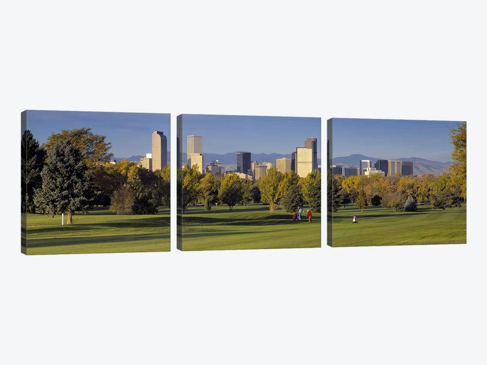 USAColorado, Denver, panoramic view of skyscrapers around a golf course by Panoramic Images 3-piece Canvas Print