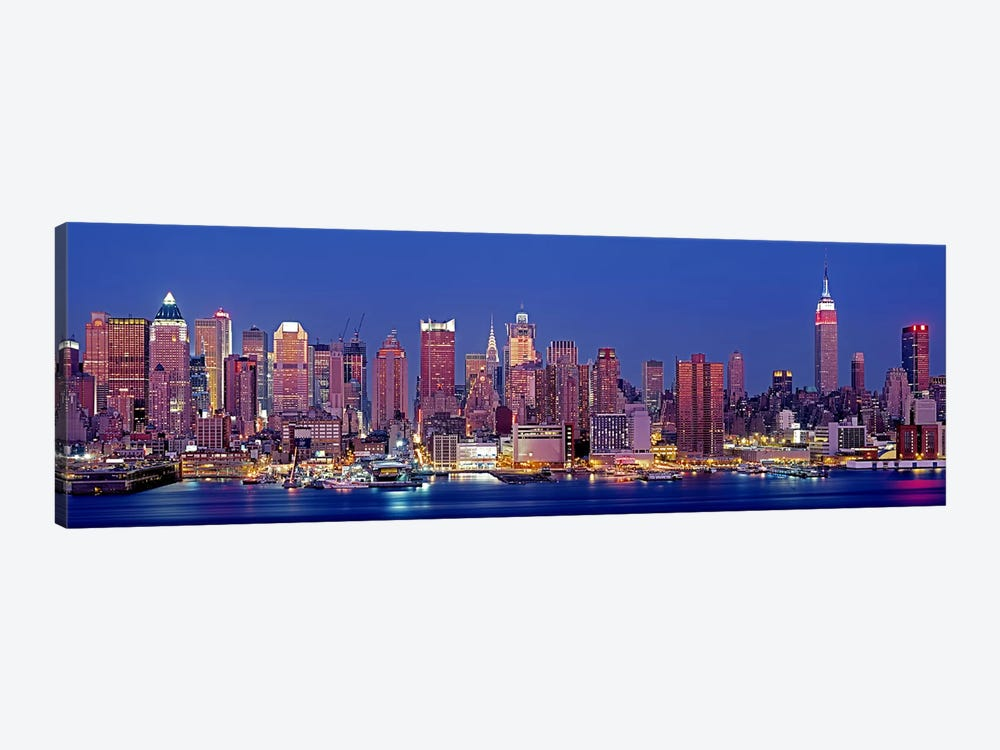 USA, New York, New York City, West Side, Skyscrapers in a city during dusk by Panoramic Images 1-piece Canvas Print