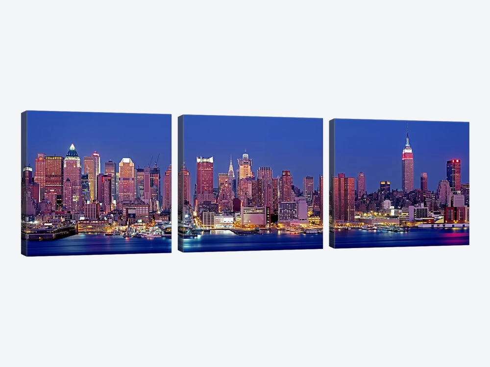 USA, New York, New York City, West Side, Skyscrapers in a city during dusk by Panoramic Images 3-piece Canvas Art Print
